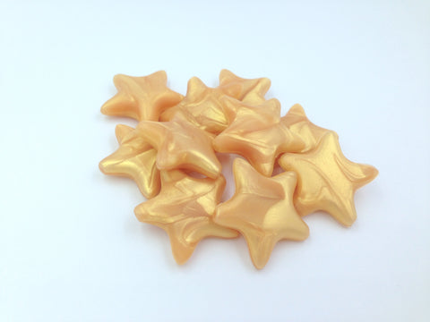 Metallic Gold Star Silicone Beads