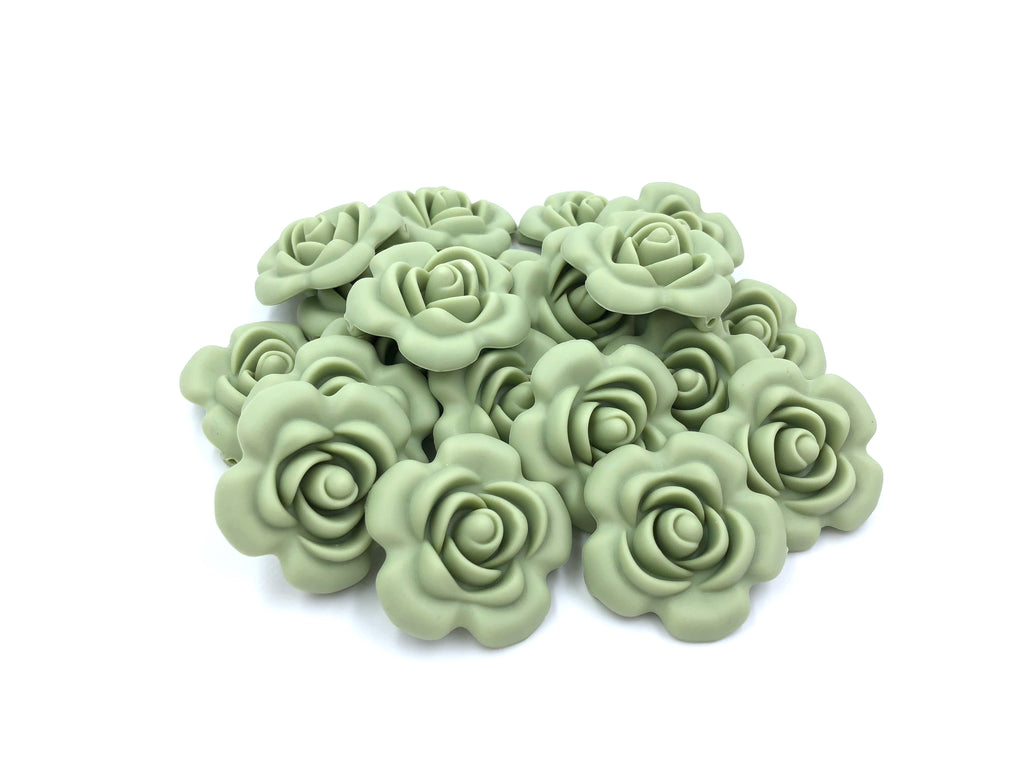 40mm Sage Silicone Flower Bead