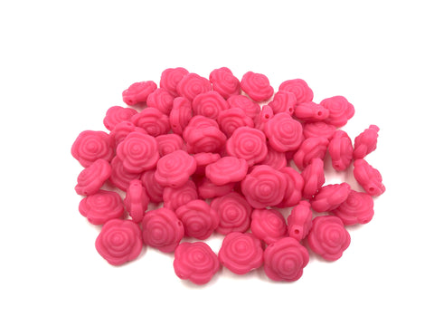 Light Hot Pink Mini Silicone Rose Flower Beads