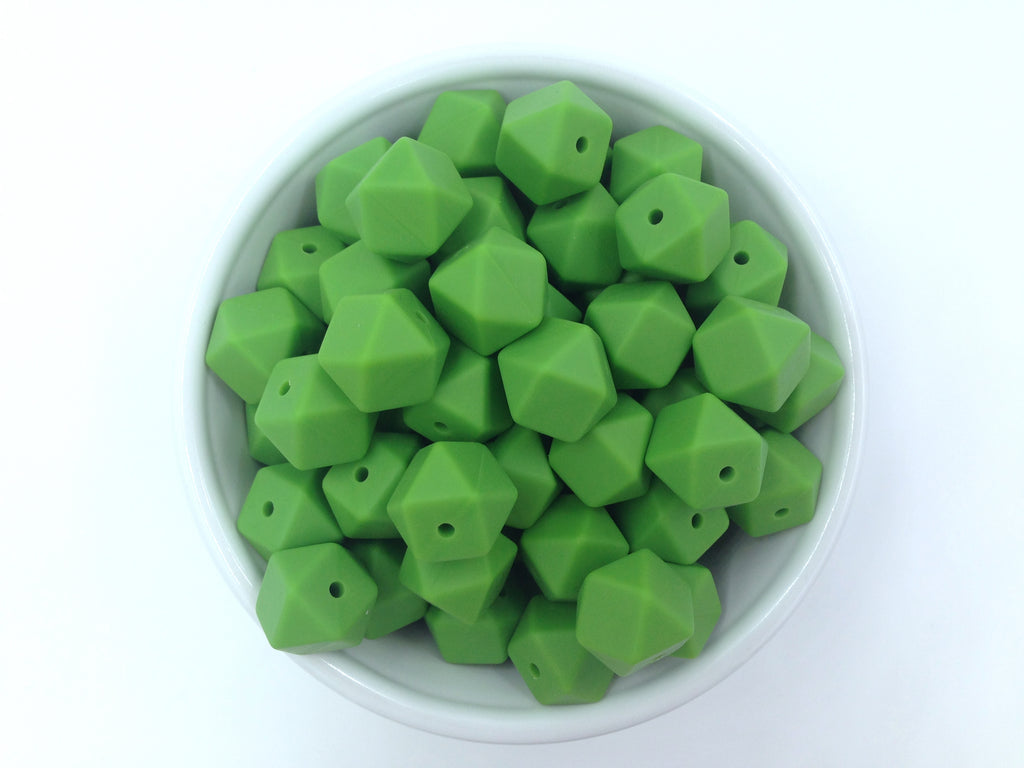 14mm Olive Green Mini Hexagon Silicone Beads