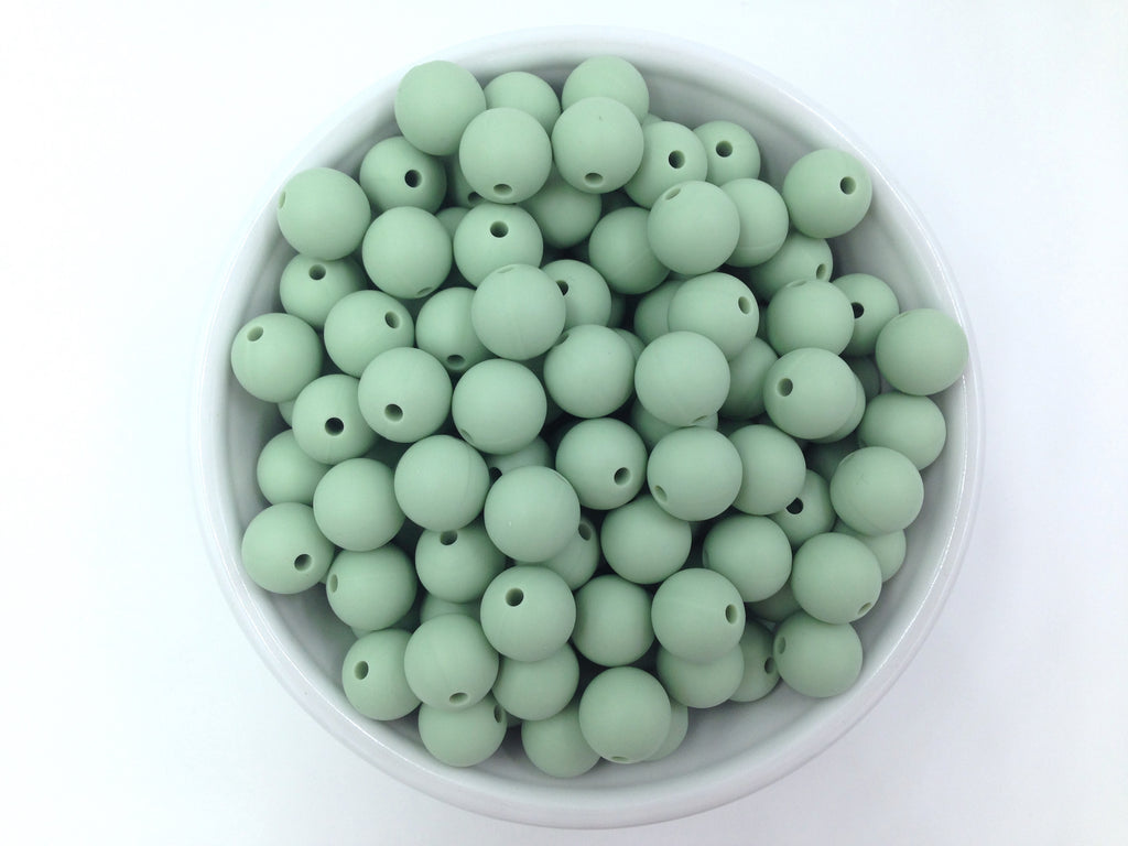12mm Smoky Mint Silicone Beads