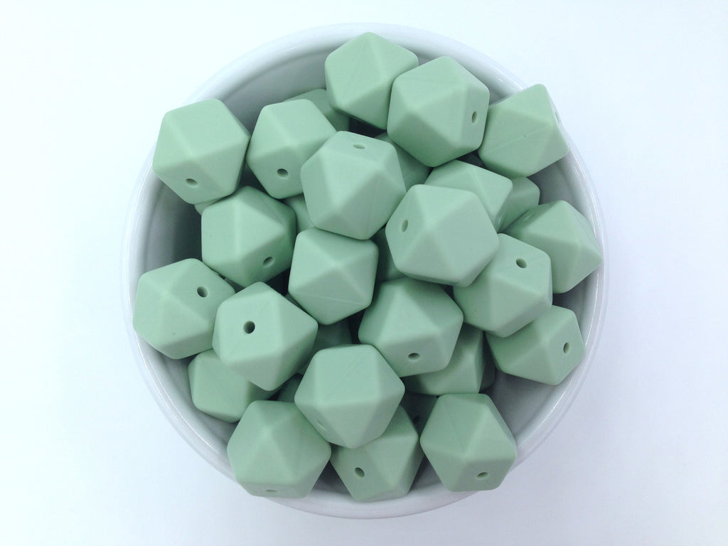 Smoky Mint Hexagon Silicone Beads