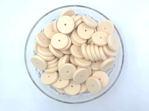 NEW!  25mm Beige Coin Silicone Beads