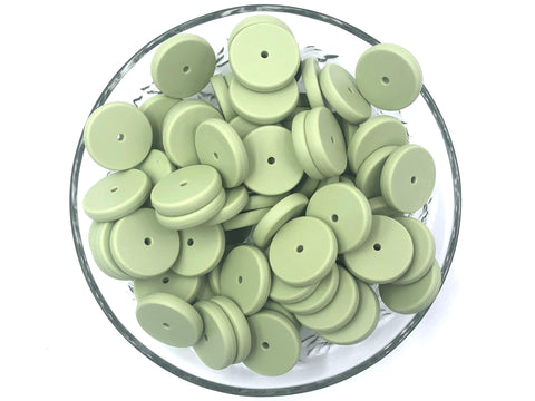 NEW!  25mm Sage Coin Silicone Beads