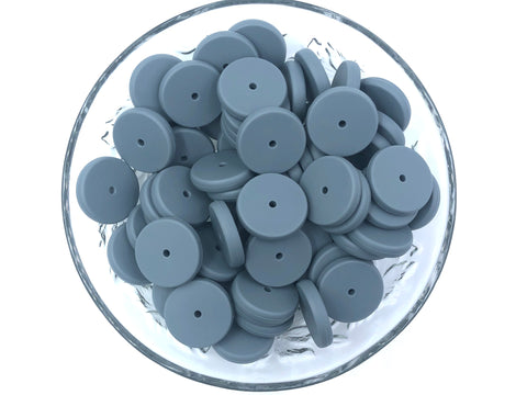 NEW!  25mm Gray Coin Silicone Beads