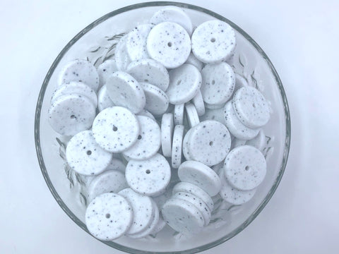 NEW!  25mm Speckled Coin Silicone Beads