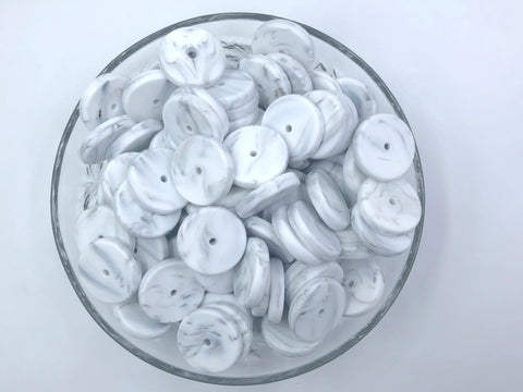 NEW!  25mm White Marble Coin Silicone Beads