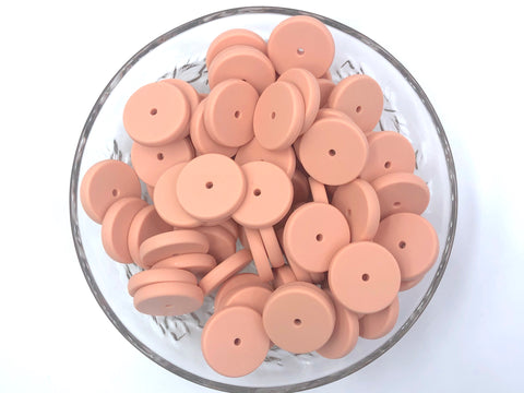NEW!  25mm Peach Sorbet Coin Silicone Beads
