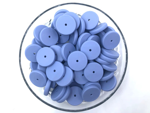 NEW!  25mm Tranquility Blue Coin Silicone Beads