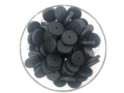 NEW!  25mm Black Coin Silicone Beads