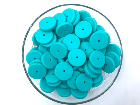 NEW!  25mm Turquoise Coin Silicone Beads