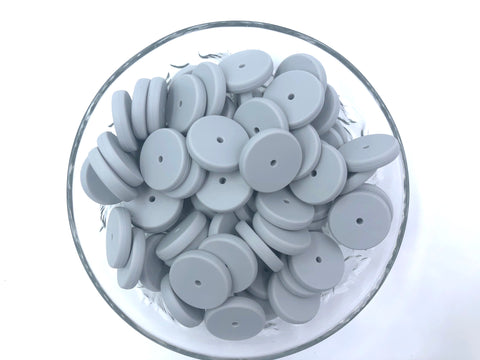 NEW!  25mm Light Gray Coin Silicone Beads