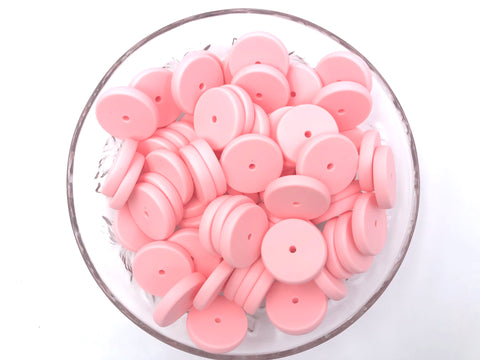 NEW!  25mm Pink Quartz Coin Silicone Beads