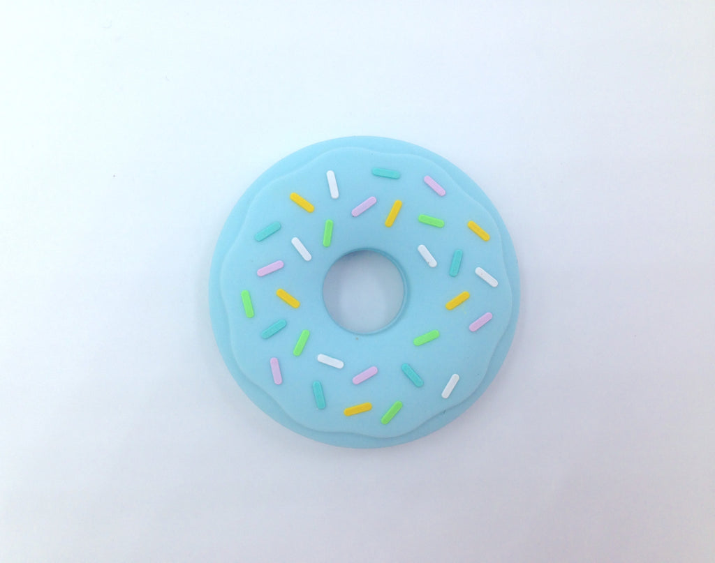Blue Donut Silicone Teether with Sprinkles