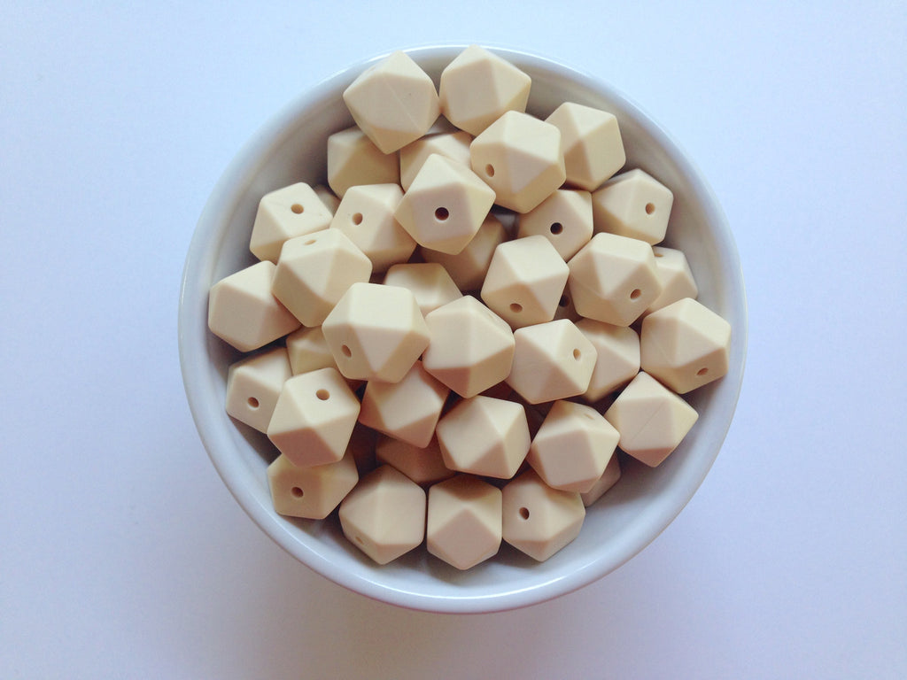 14mm Beige Mini Hexagon Silicone Beads