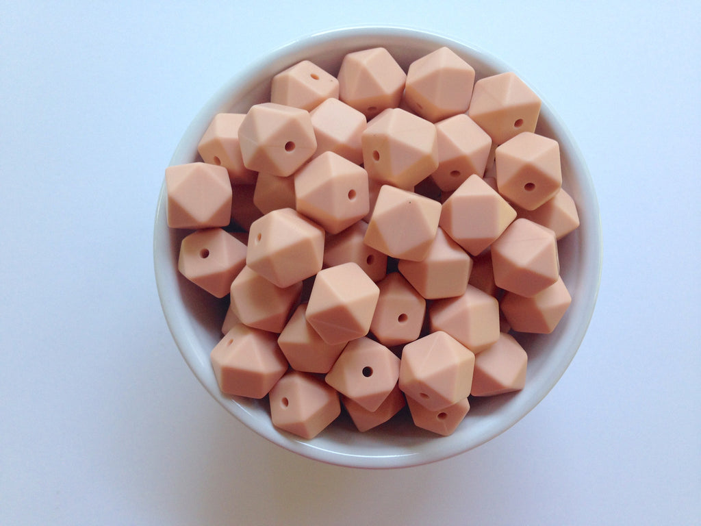 14mm Peach Mini Hexagon Silicone Beads