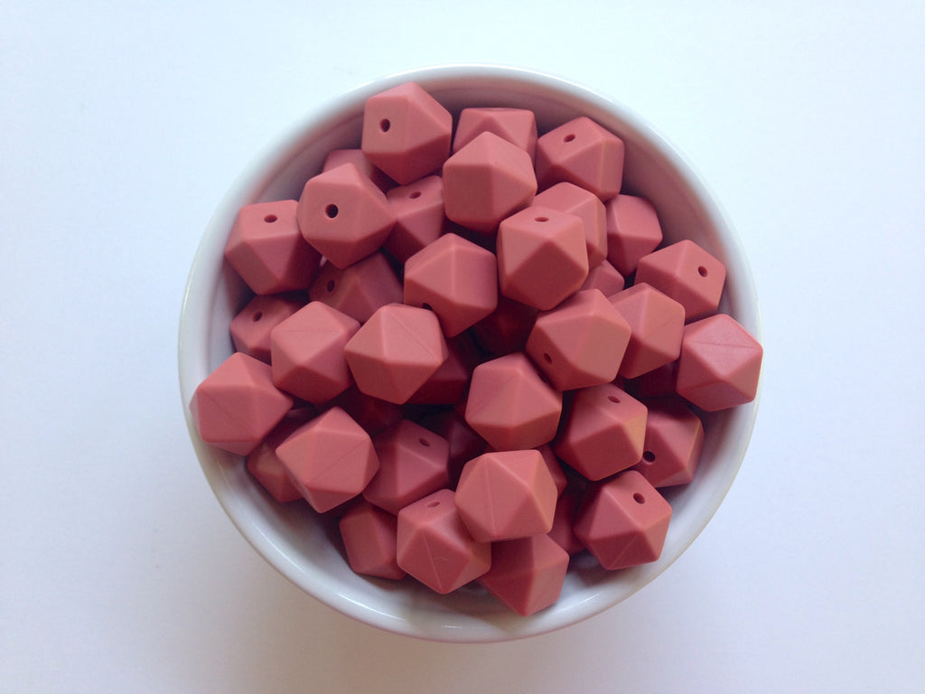 14mm Maroon Mini Hexagon Silicone Beads