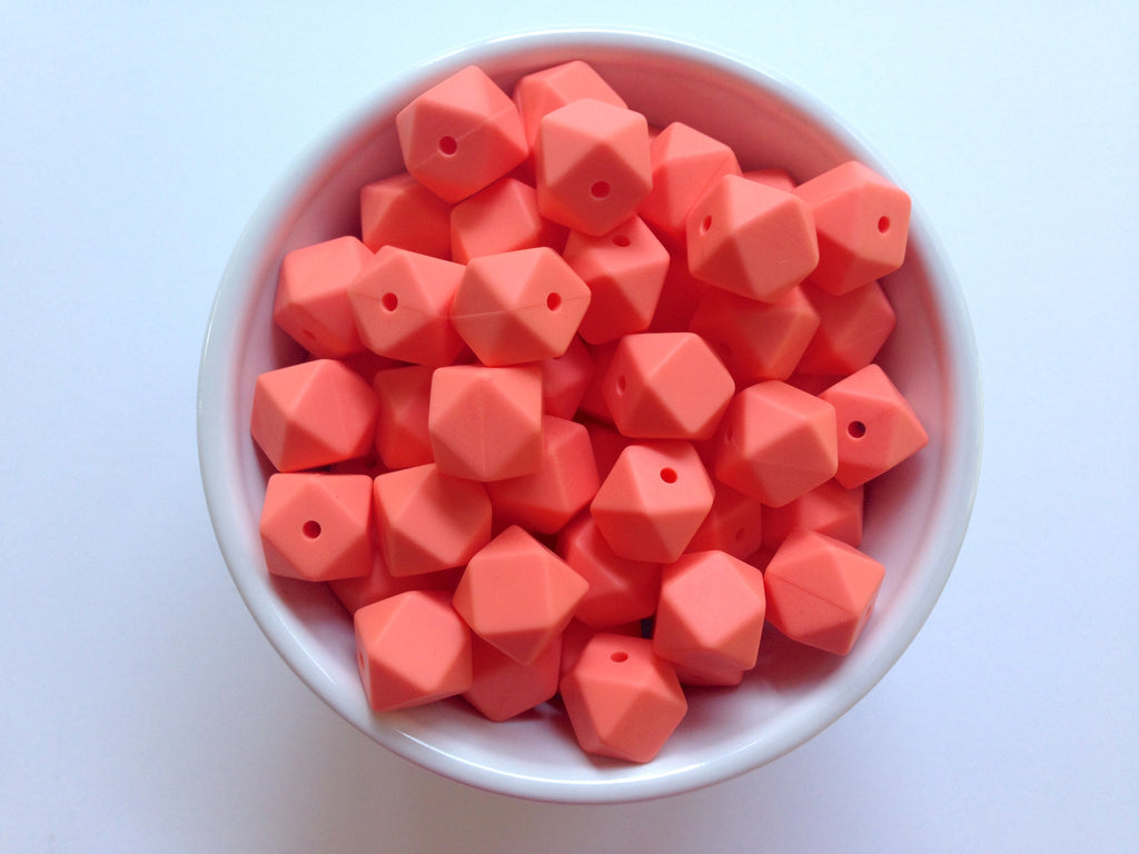 14mm Salmon Mini Hexagon Silicone Teething Beads