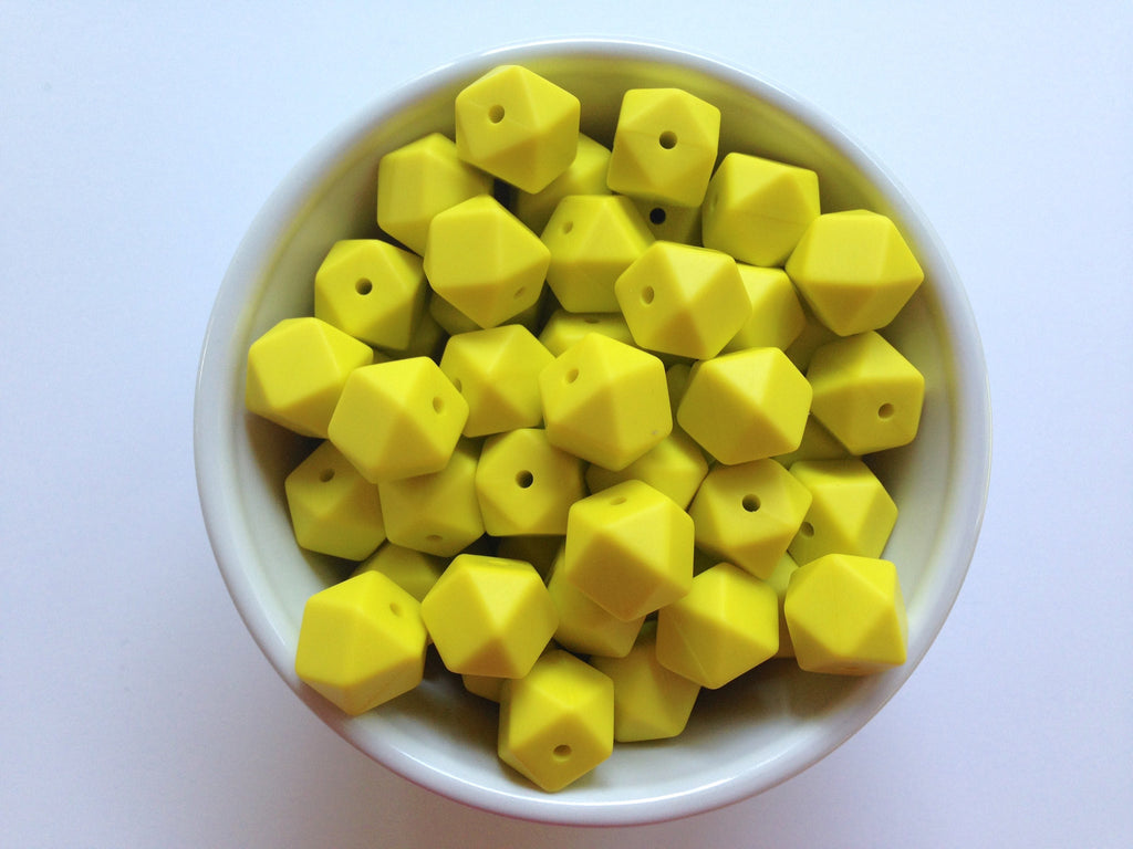 14mm Lemon Yellow Mini Hexagon Silicone Beads
