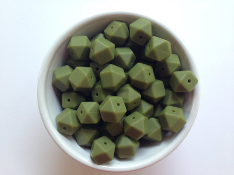 14mm Army Green Mini Hexagon Silicone Beads
