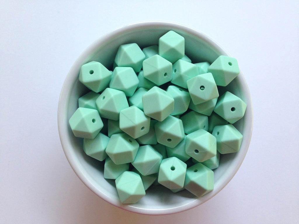 14mm Mint Mini Hexagon Silicone Beads