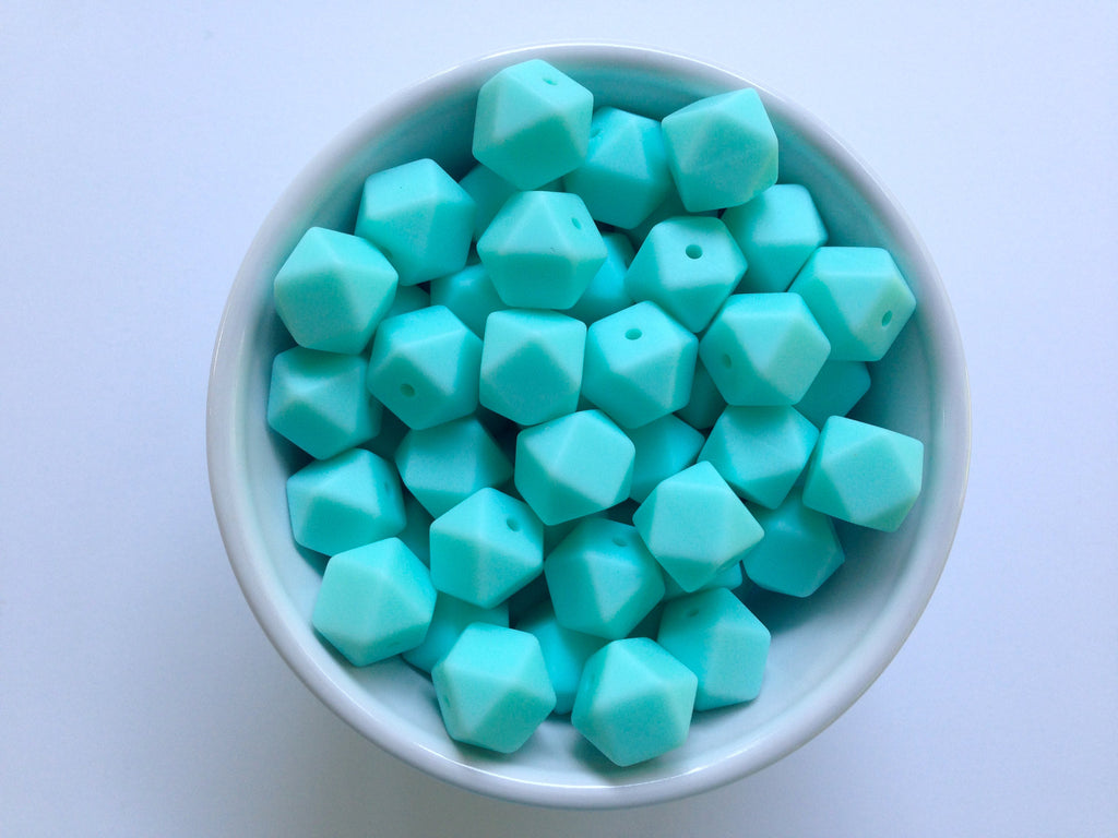 14mm Aqua Mini Hexagon Silicone Teething Beads