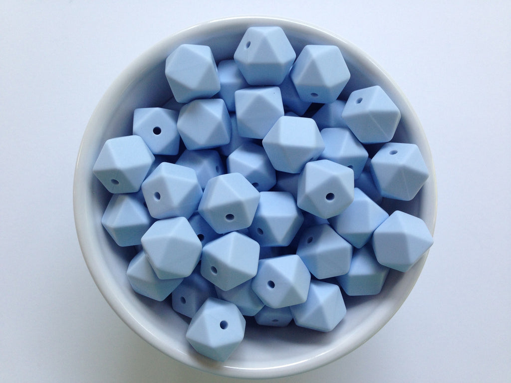 14mm Baby Blue Mini Hexagon Silicone Beads