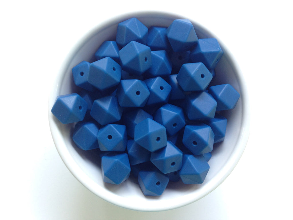 14mm Sapphire Blue Mini Hexagon Silicone Teething Beads