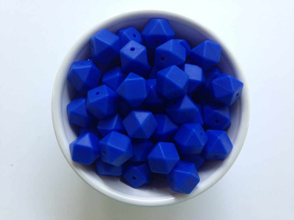 14mm Royal Blue Mini Hexagon Silicone Teething Beads