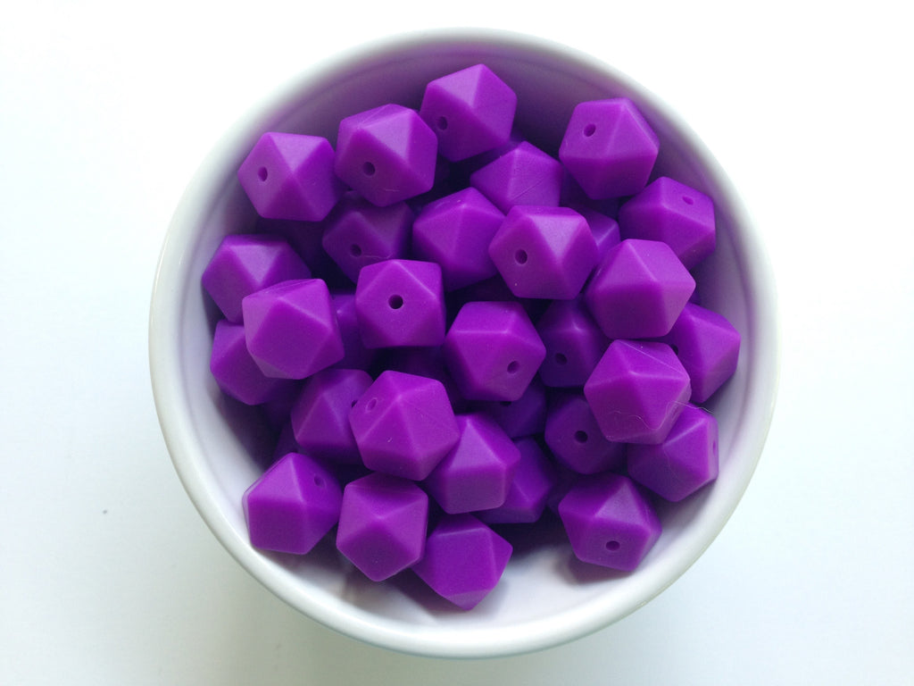 14mm Royal Purple Mini Hexagon Silicone Teething Beads