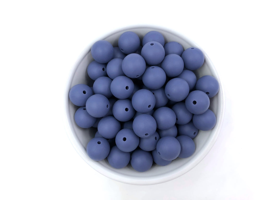 15mm Denim Blue Silicone Teething Beads