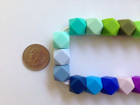500 14mm Mini Hexagon Silicone Beads Wholesale Silicone Beads Loose Beads Sensory Beads 500 Bulk MINI HEXAGON Silicone Teething Beads