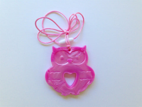 Metallic Pearl Pink Silicone Owl Teether