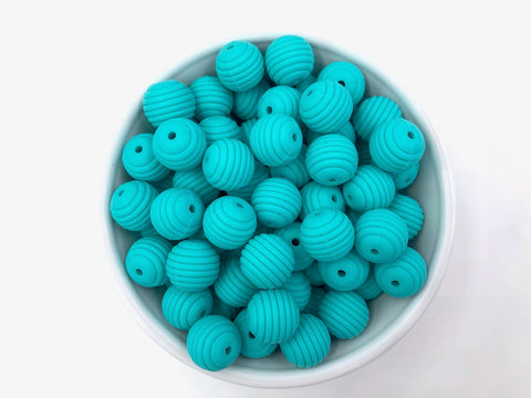 15mm Turquoise Silicone Beehive Beads