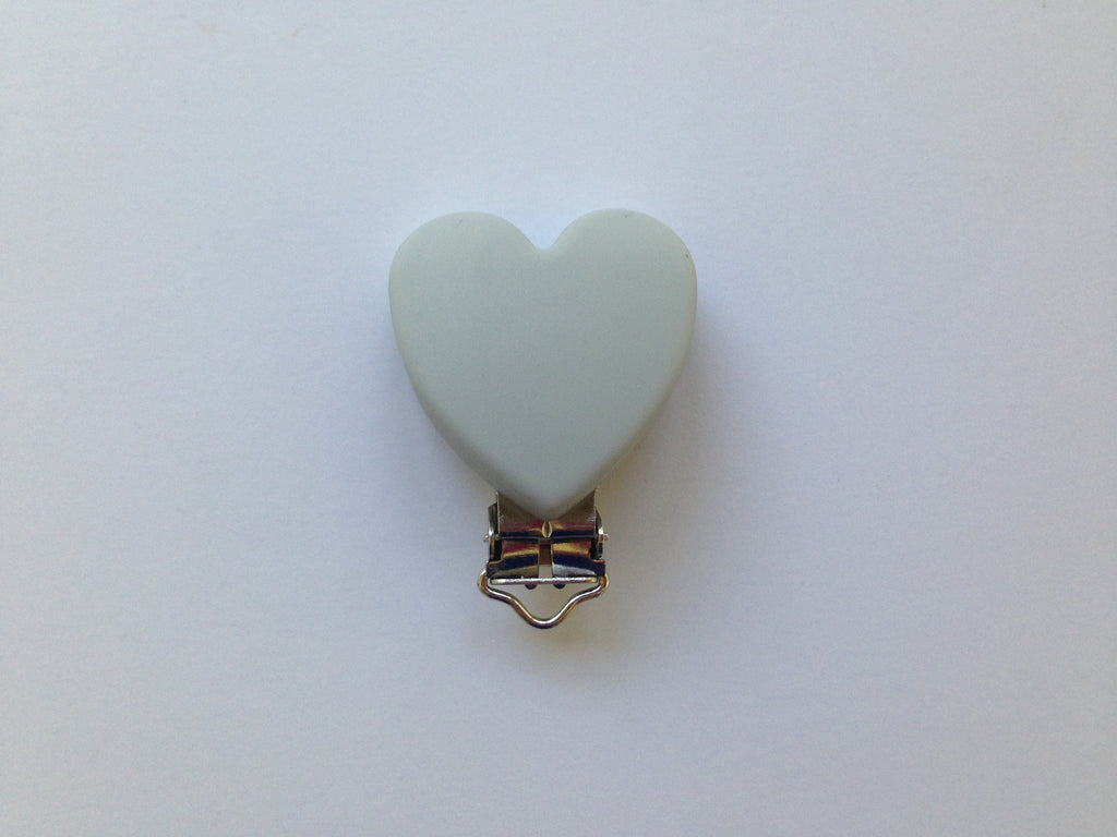 Light Gray Heart Silicone Pacifier Clip