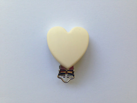 Beige Heart Silicone Pacifier Clip