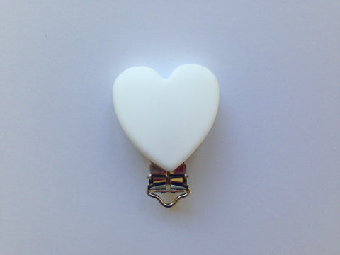 White Heart Silicone Pacifier Clip