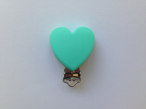 Light Turquoise Heart Silicone Pacifier Clip