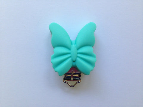 Turquoise Butterfly Silicone Pacifier Clip