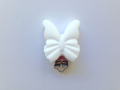 White Butterfly Silicone Pacifier Clip