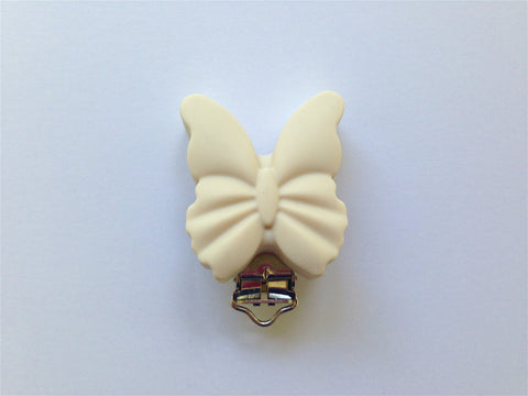 Beige Butterfly Silicone Pacifier Clip