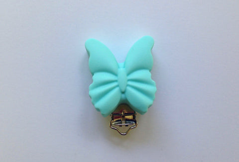 Aqua Butterfly Silicone Pacifier Clip