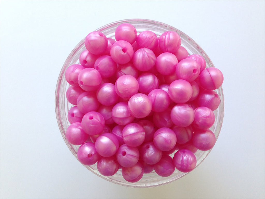 12mm Metallic Pink Silicone Beads