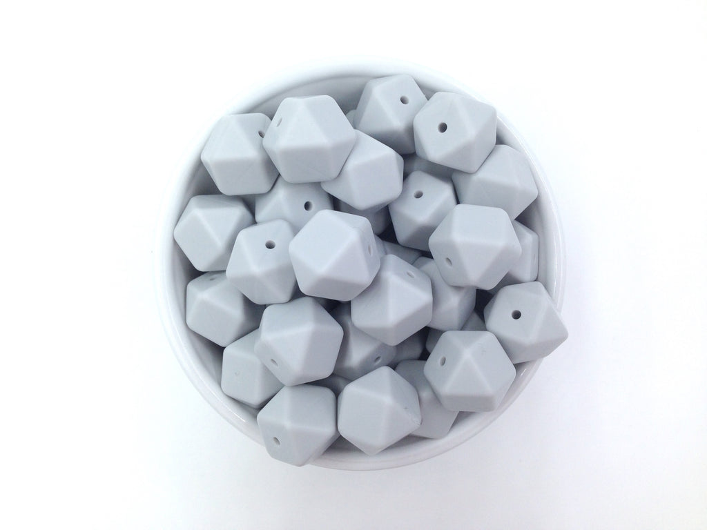 Glacier Gray Hexagon Silicone Beads
