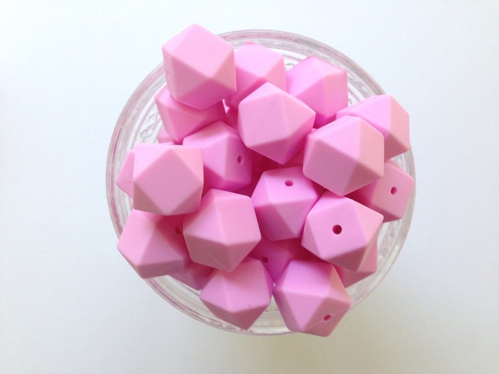 Light Pink Hexagon Silicone Beads