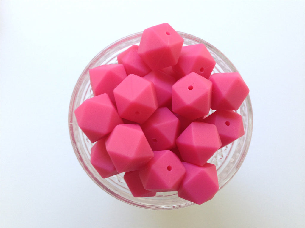 Light Hot Pink Hexagon Silicone Beads