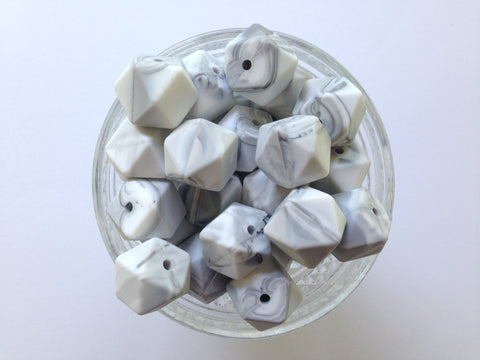 White Marble Hexagon Silicone Teething Beads