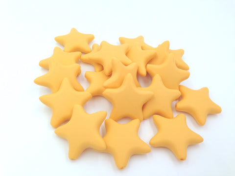Golden Yellow Star Silicone Beads