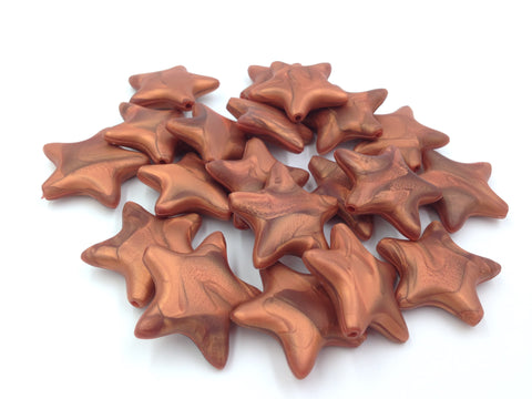 Metallic Copper Star Silicone Beads