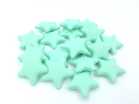 Mint Star Silicone Beads